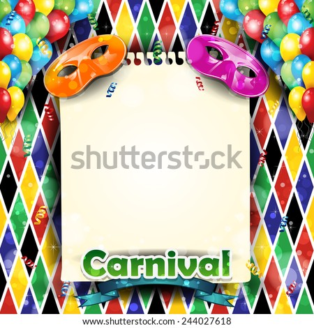 Carnival harlequin background balloons and confetti with-With sheet where you can enter your own text - stock photo