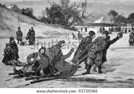 "Carnival in the village. Sleigh ride. Engraving on steel by Brolling from picture by painter Shubler. Published in magazine ""Niva"", publishing house A.F. Marx, St. Petersburg, Russia, 1893"