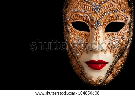 Carnival in Venice image with ample copyspace. Isolated On black - stock photo