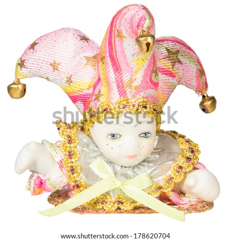 Carnival mask buffoon clown toy porcelain Christmas New year Venetian white background isolated object  - stock photo