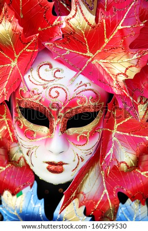 Carnival mask close-up, Venice - stock photo