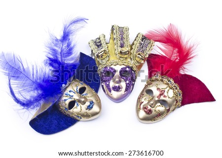 Carnival mask decorated with designs on a white background