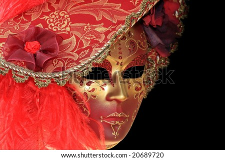 Carnival Mask from Venice Italy isolated on black - stock photo