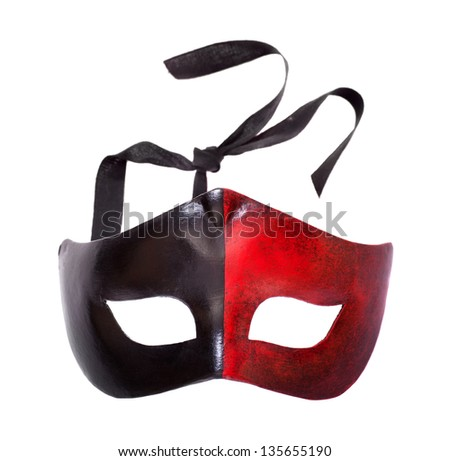 Carnival mask front view isolated on white - stock photo