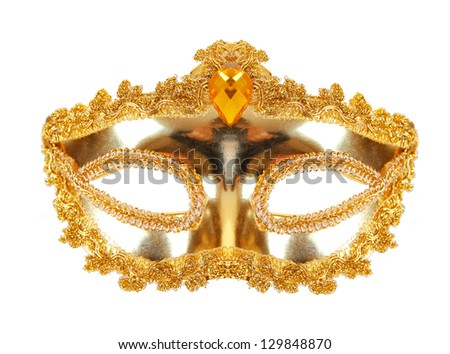 Carnival mask gold isolated on white background