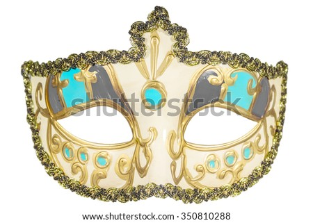 Carnival mask gold-painted curlicues decoration azure gray inserts half mask isolated white background full face - stock photo