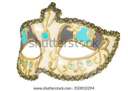Carnival mask gold-painted curlicues decoration azure gray inserts half mask isolated white background side view - stock photo