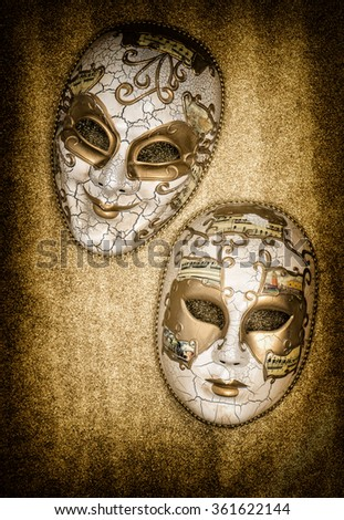 Carnival mask harlequin. Mardi gras. Holidays background. Venetian mask card concept. No name mass production goods - stock photo
