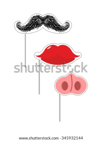 Carnival mask set.  illustration Fake Mustache and lips. Nose of a pig on a stick. Mustache on a stick. Funny holiday accessories  - stock photo