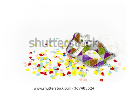 Carnival mask with confetti isolated on White background - stock photo