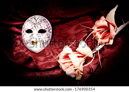 carnival mask with flowers - stock photo
