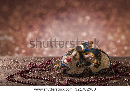 Carnival mask with glittering background - stock photo