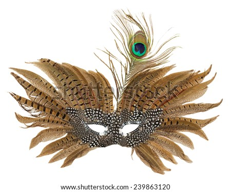 carnival mask with peacock feathers isolated on the white background - stock photo