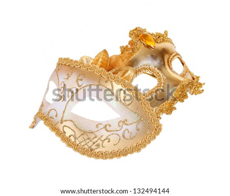 Carnival masks gold isolated on white background