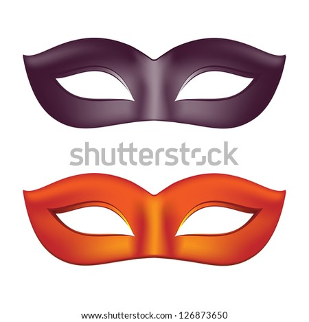 Carnival masks in black and red - stock photo