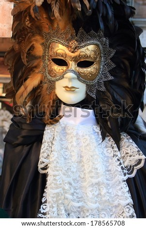 carnival masks in venice piazza san marco February - stock photo