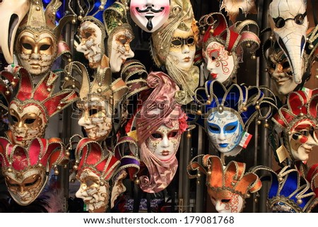 carnival masks of the world most famous grand canal venice historical center - stock photo