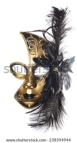 Carnival masquerade mask  black gold lush feathers on side white background  New year Christmas - stock photo
