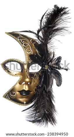 Carnival masquerade mask  black gold lush feathers on side white background  New year Christmas