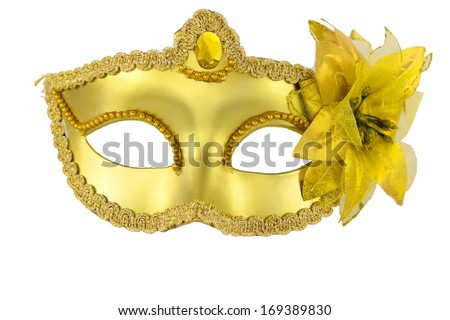 Carnival masquerade mask Christmas black gold  white background silver New year - stock photo