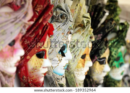 Carnival or mardi gras costume masks in Venice - stock photo