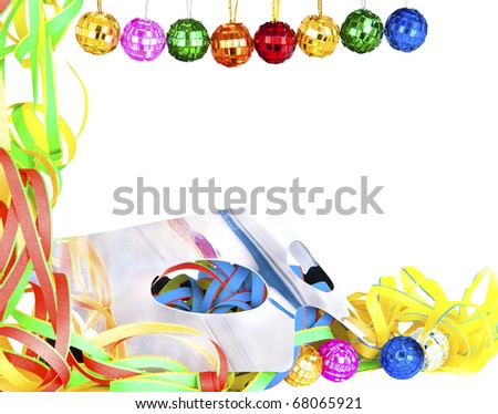 Carnival party decoration with silver mask isolated over white