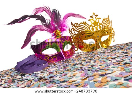 Carnival Party Props on white background  - stock photo