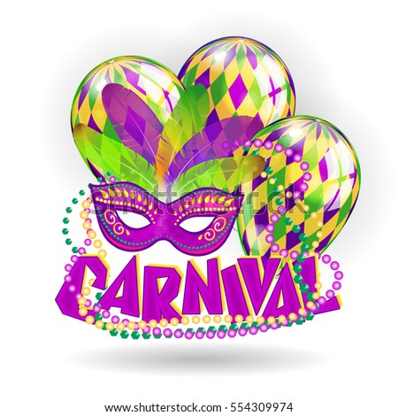 Mardi Gras Party Mask Poster Calligraphy Stock Vector ...