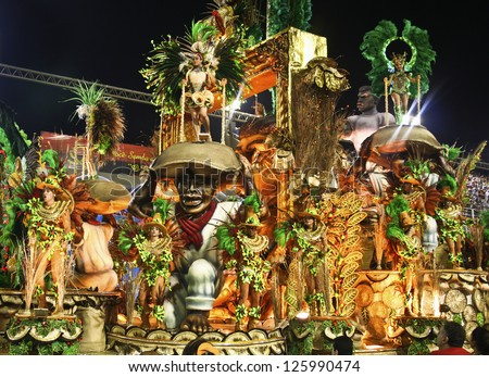 CARNIVAL RIO DE JANEIRO - FEBRUARY 19: Samba School parade float at the Sambadome February 19, 2012 in Rio de Janeiro, Brazil. The Rio Carnival is the biggest carnival in the world. - stock photo