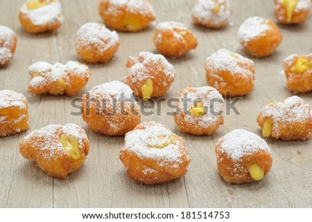 Carnival tortelli stuffed with custard