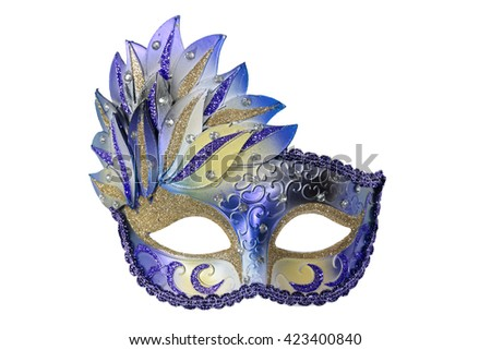 Carnival Venetian mask isolated on white background with clipping path. - stock photo