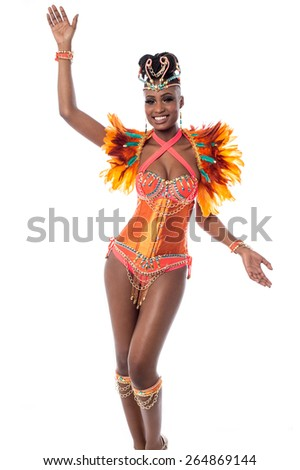Carnival woman dancer isolated over white - stock photo