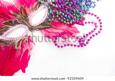 Carnivale decor on isolated white - stock photo