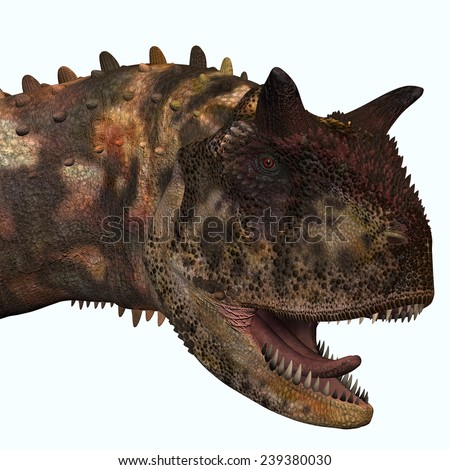 Carnotaurus Head - Carnotaurus was a theropod carnivorous dinosaur that lived in Argentina in the Cretaceous Period. - stock photo