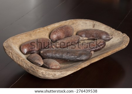 carob wooden tray rustic wooden table dark brown