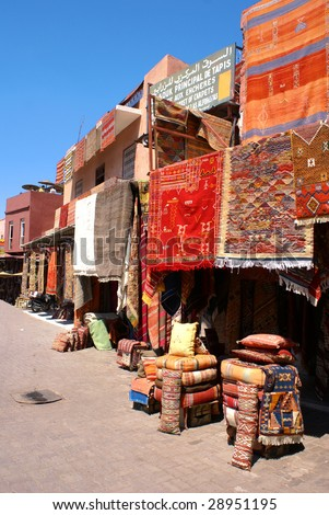 Caroer market in Medina of Marrakech, Morocco - stock photo