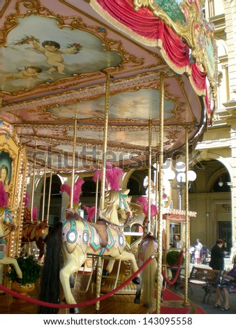 Carousel in a square in Florence, Italy