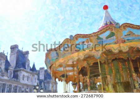 Carousel in Paris - stock photo