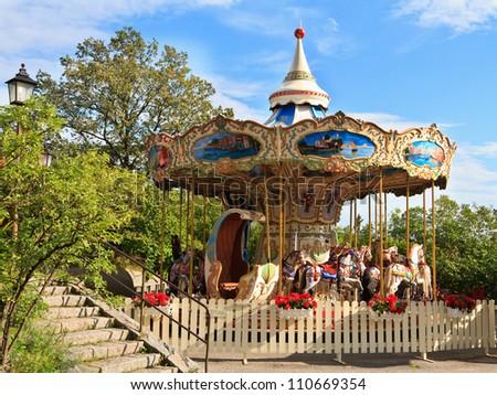 carousel in Skansen park, Stockholm, Sweden - stock photo