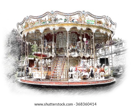 Carousel, merry-go-round in Paris. Illustration in draw, sketch style - stock photo
