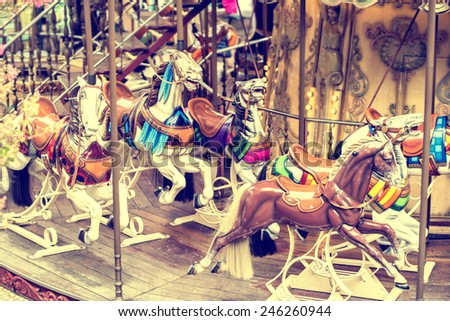 Carousel Merry-go-round Paris horse vintage background - stock photo