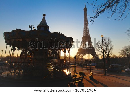 carousel near Eiffel tower in Paris, France - stock photo