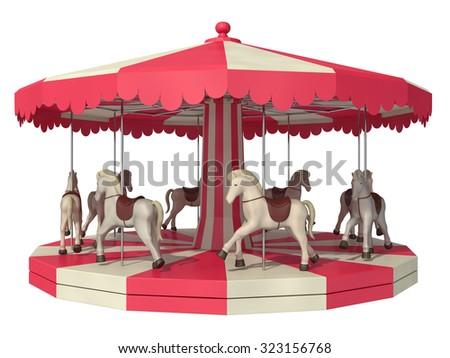 carousel on a white background - stock photo
