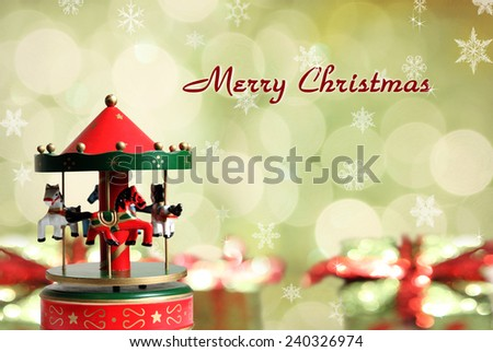 Carousel on neon background in Christmas. - stock photo