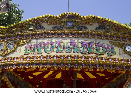 Carousel with wording Englands - stock photo