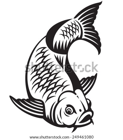 Carp fish cartoon isolated on white background - stock photo
