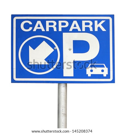 Carpark sign lit up isolated on white background