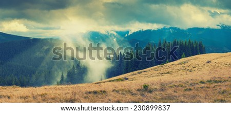 Carpathian autumn mountains with beautiful colorful clouds. Forest in a fog. Vintage colors