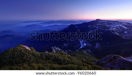 Carpathian mountain landscape at dusk - stock photo