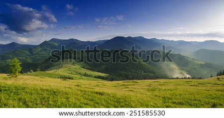 Carpathian mountain summer panoramic  landscape with blue sky and clouds - stock photo